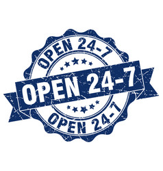 Open 24 7 stamp sign seal vector