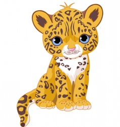 Cute jaguar cub vector