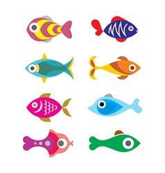 fish icon set 8 vector image