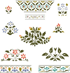 Color set blooming plant and border floral on whit vector
