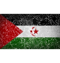 Flags western sahara with broken glass texture vector