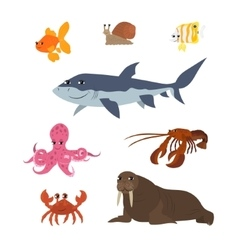 Cartoon set goldfish snail shark fish butterfly vector