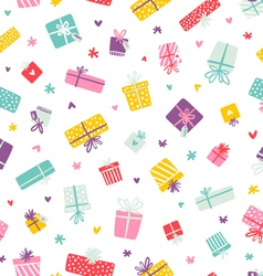 Party presents colorful pattern with hearts and vector