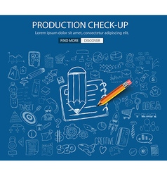 Production check up concept with doodle design vector