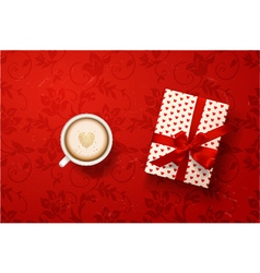 Latte with valentines card gift box vector