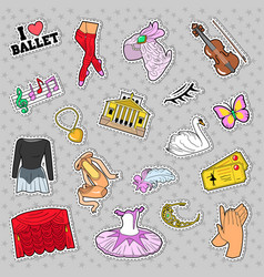 ballet stickers badges patches set vector image vector image