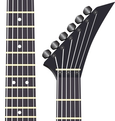 Black electric guitar on a white background vector image vector image