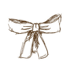 Bow ribbon gift in a vintage woodcut engraved vector