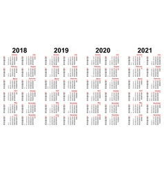calendar 2018 - 2021 vector image