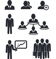 Collection of businessmen silhouettes vector image