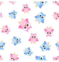 cute cartoon owl seamless pattern background vector image