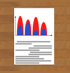 Document with wave color chart vector