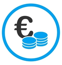 Euro coin stacks rounded icon vector