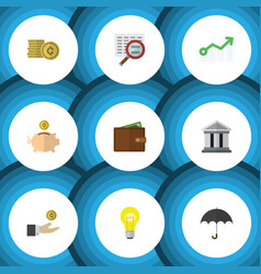 Flat icon gain set of growth cash bank and other vector