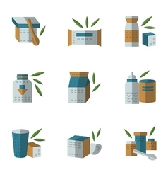 Flat style icons for baby food vector