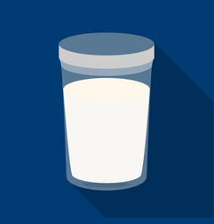 Glass of milk icon in flat style isolated on white vector