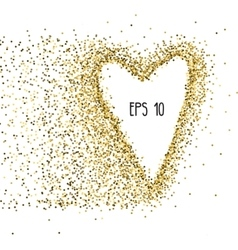 Gold background with shape of heart vector