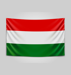 Hanging flag of hungary hungary hungarian vector