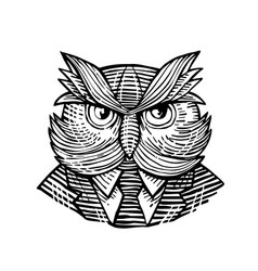 Hip wise owl suit woodcut vector