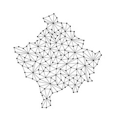 Kosovo map of polygonal mosaic lines network rays vector