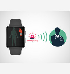 medical application in smart watch sos application vector image vector image
