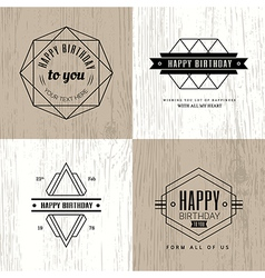 monochrome vintage happy birthday badge vector image vector image