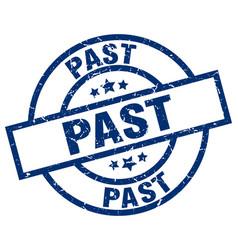 Past blue round grunge stamp vector