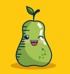 pear fresh fruit character handmade drawn vector image