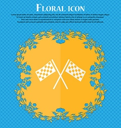 Race flag finish icon sign floral flat design on a vector