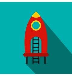 Red rocket with stairs on a playground flat icon vector