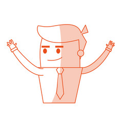 red silhouette image half body cartoon business vector image vector image