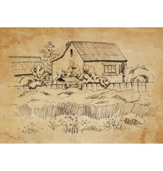 Rural landscape with old farmhouse vector
