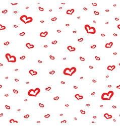 Seamles pattern with hand drown red hearts vector