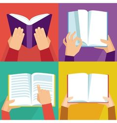set of hand holding books vector image