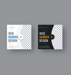 set of square black and white web banners with vector image vector image