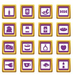 shop navigation foods icons set purple vector image
