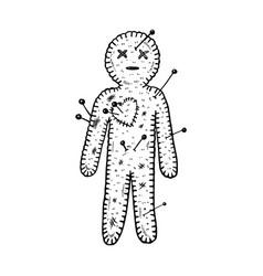 voodoo doll engraving vector image
