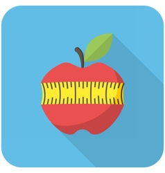 Red apple with measuring tape icon vector image