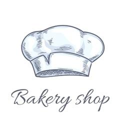 Baker hat sketch for bakery shop emblem vector
