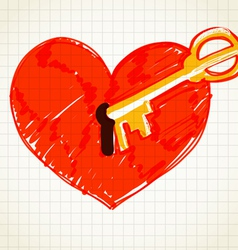 Key is opening the heart vector image