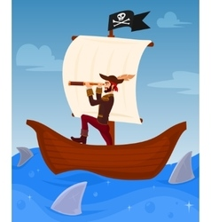 Pirate leads his ship vector