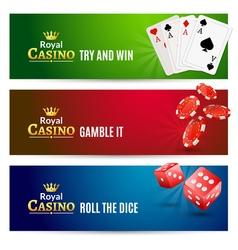 Casino banner gambling set poker roulette chips vector