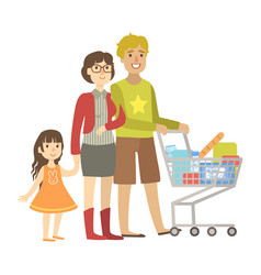 Parents and little daughter shopping for groceries vector