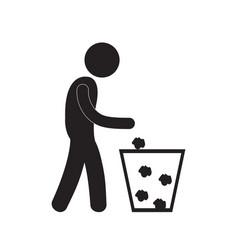 Man throwing trash icon vector