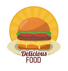 Delicious food fresh burger fast unhealthy sticker vector