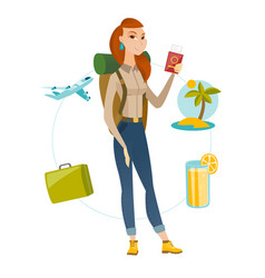 Young woman traveler holding passport with ticket vector