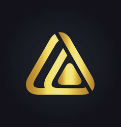 Triangle technology media abstract gold logo vector