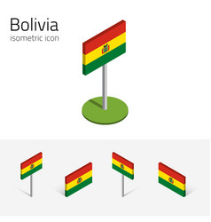 bolivia flag set of 3d isometric flat icons vector image