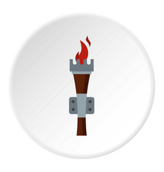 torch icon circle vector image