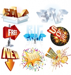 3d shopping tags vector image